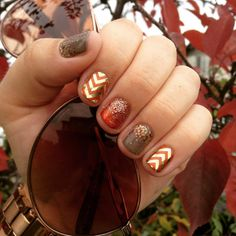 Apple Cider and Gold Chevron wraps mixed with I Lava You & Stardust lacquers, all topped with TrūShine Gel Enamel!  katrinakarner.jamberrynails.net