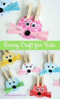 Wielkanocne zajączki do powieszenia na gałązkach bunny craft for kids Easter Projects, Easter Crafts For Kids, Toddler Crafts, Diy For Kids, Craft Projects, Craft Kids, Easter Art, Hoppy Easter, Easter Bunny