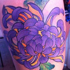 James Tex - Deadly Tattoos Inc. Calgary, Canada. Thigh Tattoo. Chrysanthemum. Flower. Japanese. Asian. Oriental