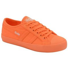 Gola Women's Coaster Neon Canvas Sneakers ($50) ❤ liked on Polyvore featuring shoes, sneakers, neon orange, round cap, canvas sneakers, round toe shoes, gola shoes and lace shoes