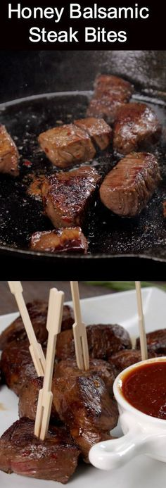Honey balsamic steak bites-There are so many ways to enjoy these bite-sized pieces of steak: we passed them around on appetizer skewers with a steak sauce dip for dunking, but they'd also make a satisfying main dish with roasted potatoes and veggies on the side, or would be mouthwatering tossed into a crisp steak salad #honeyrecipes #balsamic #steak #bitesfood #easyrecipes