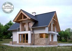 Projekty domów LK Projekt LK&1130 zdjęcie 2 Rustic Home Design, Home Design Plans, Style At Home, House Design Pictures, Modern Bungalow House, 2 Storey House, Modern Properties, Design Exterior, Barn House Plans