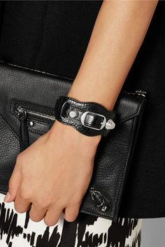Balenciaga's textured leather bracelet is detailed with the label's signature silver Giant studs. Wear this wide piece solo or layered with similar styles. Balenciaga Sandals, Balenciaga Bracelet, Balenciaga Shirt, Fashion Bracelets, Spring Summer Fashion, Studs, Shoulder Bag, Texture, Leather
