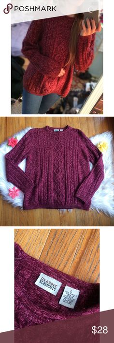 Vintage 90's Cranberry Knit  Soft and cozy vintage knit sweater in the prettiest marled cranberry color! Thicker chunky knit that's sure to keep you warm in these colder months! Looks great with boots and leggings or your favorite pair of jeans. In awesome condition! Size large, fits a size xs/small with a classic oversized fit! Modeled on a size xs :)  Measurements: Total Length (top of shoulder to bottom hem)- 25 inches  Bust- 21 inches flat across Vintage Sweaters Crew & Scoop Necks