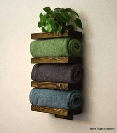 18 DIY towel storage ideas for easy bathroom organization . - 18 DIY towel storage ideas for easy bathroom organization … ideas - Bath Towel Racks, Towel Rack Bathroom, Wood Bathroom, Diy Bathroom Decor, Simple Bathroom, Bathroom Shelves, Diy Home Decor, Modern Bathroom, Bathroom Mirrors