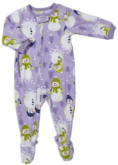 Carter's Girls Toddler 3T Purple Snowman Microfleece Footed Pajamas NWT  #Carters #OnePiece