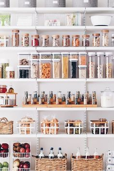 Having a pantry small kitchen design and ideas makes me refuse the kitchen no pantry concept. Clean and Simple Kitchen Pantry Ideas Kitchen Organization Pantry, Home Organisation, Organizing Ideas, Organized Pantry, Pantry Ideas, Organising, Open Pantry, Food Storage Organization, Pantry Room
