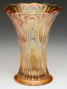MILLERSBURG TULIP SCROLL CARNIVAL GLASS VASE Carnival Glass, Marigold, Tulips, Evans, Glass Art, Pottery, Crystals, China, Ceramica