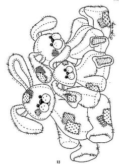 Patchwork/Tattered Bunny Toys – Coloring Page/Line Art Drawing/B&W Image Make your world more colorful with free printable coloring pages from italks. Our free coloring pages for adults and kids. Easter Colouring, Coloring For Kids, Free Coloring, Coloring Book Pages, Coloring Sheets, Embroidery Patterns, Hand Embroidery, Felt Patterns, Spring Crafts