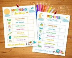 Set of Morning & Bedtime Routine Checklists Printable --------------------------------------------------------------------------- !!!!!!!!! VERY IMPORTANT !!!!!!!!!!! If you would like a customized checklist please contact me BEFORE purchasing! Please note that customizing may apply