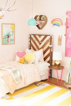 Looking for a heavenly color for a bedroom? Try Angelic SW 6602. Happy and whimsical, its soft pink tone lets decor shine. We can see why Joni's daughters love their space so much.