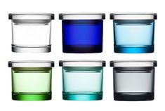 "Glass Jars by littala: 3.2 x 2.6"" $19.50 each."