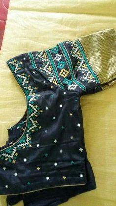 Saree Blouse Neck Designs, Simple Blouse Designs, Bridal Blouse Designs, Blouse Patterns, Kutch Work Designs, Mirror Work Blouse, Clothes For Women, Sarees, Allergies