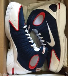 9ab78ecbf063 Nike Air Zoom Huarache 2K4 USA Mid Navy Univ Red Kobe 308475-400 Sz 9 DS