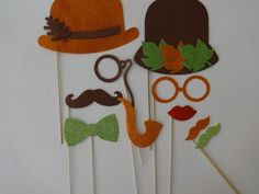Items similar to Thankgiving Photo Booth Party Props Fall Leaves autum colors orange brown green thanksgiving decor party favor Mustache onstick photobooth on Etsy Fall Photo Booth, Photo Booth Party Props, Christmas Photo Booth, Wedding Photo Booth, Photo Props, Thanksgiving Flowers, Thanksgiving Photos, Thanksgiving Decorations, Birthday Party Decorations