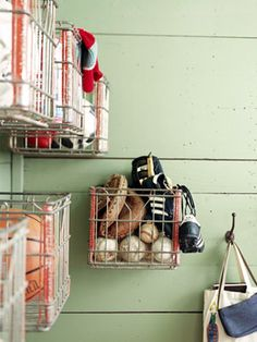 milk crates become wall storage. need to find some!