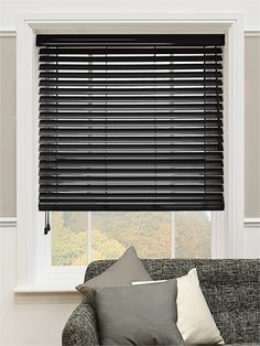 High Gloss Black Faux Wood Blind - 50mm Slat from Blinds 2go