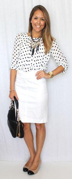 white/black polka dot cardigan, white skirt
