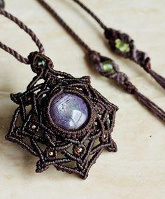 Star Ruby & Moldavite & Peridot & K28 natural stone beads macrame pendant