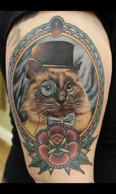 These pet dedication tattoos prove that inking up can be pawsitively awesome. Cat Portrait Tattoos, Tattoos 3d, Tattoo Henna, Neue Tattoos, Dog Portraits, Animal Tattoos, Body Art Tattoos, Watch Tattoos, Monkey Tattoos