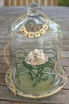 Rooted In Thyme: Summer Cloches & Simple & Sweet Fridays Glass Dome Display, Glass Domes, Easy Projects, Craft Projects, The Bell Jar, Bell Jars, Cloche Decor, Apothecary Jars, Mason Jars