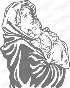Arte vectorial de la Virgen María con el Niño para cortar en plotter o grabado.