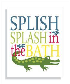 Alligator Bathroom Art, Brush Wash Flush, Kids Bathroom Art, Crocodile  Bathroom, Children Wall Art, Alligator, Set Of 3 | Kids Bathroom Art,  Bathroom Art ...