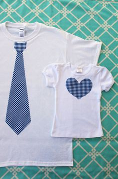 New Dad Tie T-Shirt and Baby Girl / Daughter Heart Tee.  Set of 2 Tie.  Daddy's Little Girl Gift Set.  Father's Day, New Dad, New Baby. $39.95, via Etsy.