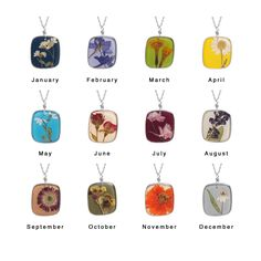 Birth month flower necklaces made out of real flowers.  Very cool. Who knew there was a flower for each month?