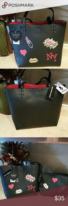 "Black tote bag with bonus bag NWT. Super fun vegan black/red leather reversible bag with cosmetic with zip tassel. Has magnetic closure. Bottom of bag 10""W Top of bag 13.5"" W 11""H 4.5""D Cosmetic bag 10""W 7.5""H 4.5"" D Drop length 8.5"" imoshion  Bags"