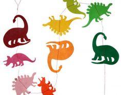FREE SHIPPING Handmade Paper Dino Garland