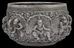 Silver Bowl Repoussed in High Relief Burma late 19th century