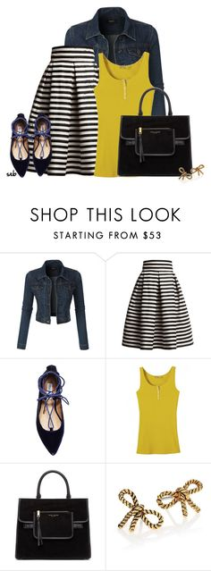"""""""Denim Jacket & Midi Skirt"""" by coombsie24 ❤ liked on Polyvore featuring LE3NO, Rumour London, Steve Madden and Marc Jacobs"""