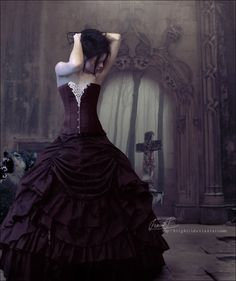 Beautiful black purple wedding dress