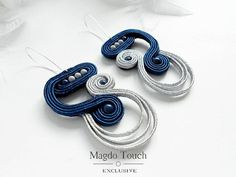 Items similar to SOLD statement soutache set, dark blue soutache jewelry, freeform blue and gray soutache cuff, contemporary soutache jewelry set on Etsy Gold Bridal Earrings, Diy Earrings, Rope Jewelry, Beaded Jewelry, Handmade Necklaces, Handmade Jewelry, Unique Jewelry, Soutache Necklace, Hand Chain
