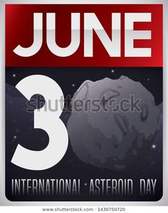Loose-leaf calendar with night, starry sky view and giant asteroid with craters completing the number thirty to celebrate International Asteroid Day in June Sky View, June 30, Textured Background, Calendar, Royalty Free Stock Photos, Number, Night, Day, Pictures