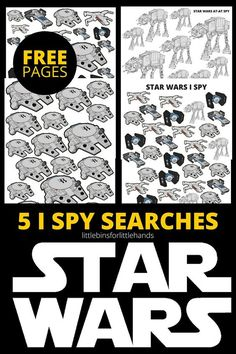 Free Star Wars I Spy searches. Fun for a rainy day or road trip.