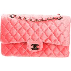 Pre-owned Chanel Quilted Velvet Medium Double Flap Bag ($2,950) ❤ liked on Polyvore featuring bags, handbags, orange, red quilted handbag, man bag, chanel, quilted purse and zipper purse