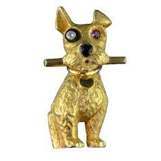 CARTIER Gold, Ruby & Diamond Dog Brooch at 1stdibs