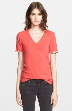 Burberry Brit Check Trim V-Neck Tee available at #Nordstrom