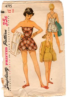 """Vintage 1950s' Simplicity 4715 Strapless Playsuit Romper Bubblesuit Criss Cross Straps Coverup Beach Coat Sewing Pattern Junior Bust 31"""" by bizzielizzies on Etsy"""