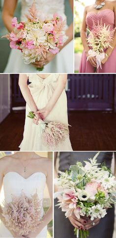 fluffy astilbe wedding bouquets