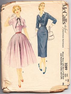 Vintage 1955 McCall's 3289 Sewing Pattern by SewUniqueClassique, $14.00