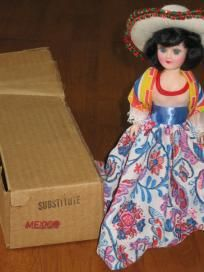 Blue Bonnet Mexico Vintage Plastic Doll