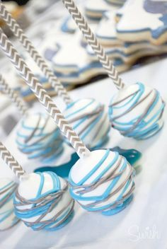 Baby Shower Cake Pops - Chevron