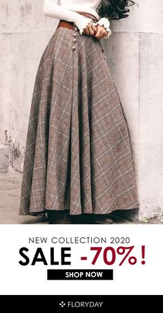 Shop Floryday for affordable Skirts. Floryday offers latest ladies' Skirts collections to fit every occasion. Mode Tartan, Modest Fashion, Fashion Dresses, Maxi Skirt Outfits, Skirts For Sale, Winter Skirt, Mode Vintage, Latest Fashion For Women, Diy Clothes