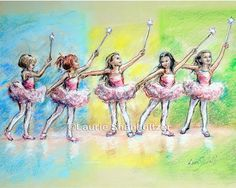 "Children's Art, Ballerina, dancers, Ballet painting, ""All Together Now...First Ballet Recital"" Laurie Shanholtzer, Paper or canvas print"