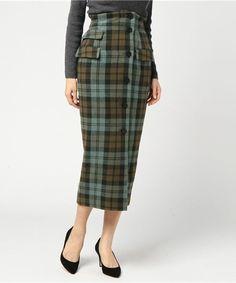 Luftrobe(ルフトローブ)の「チェック柄フロントボタンラップスカート(スカート)」|グリーン