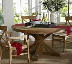 """Benchwright Fixed Pedestal Dining Table - Wax Pine finish #potterybarn  Looking for 60"""" round for breakfast area"""