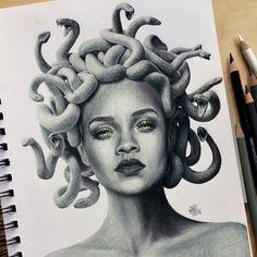 """Finished drawing of Rihanna as Medusa! Medusa Tattoo Design, Tattoo Designs, Rihanna Art, Cool Tattoos, Diva, Art Pieces, Twitter, Drawings, Artist"
